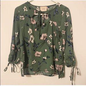I. Madaline (anthro) green floral peasant blouse